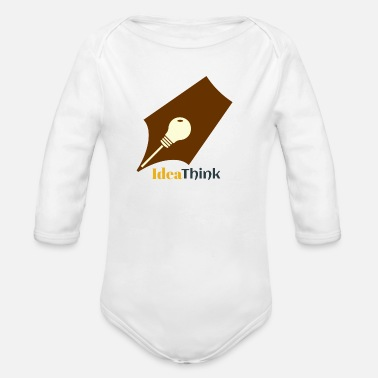 Pickup Line idea think t shirt - Organic Long-Sleeved Baby Bodysuit