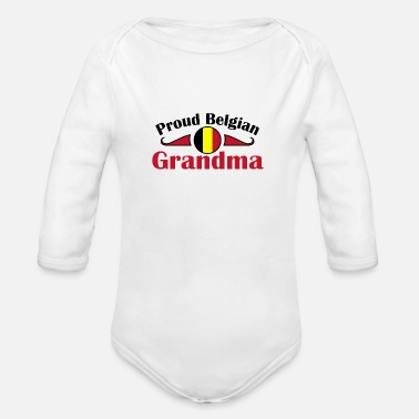 Emblem Proud Belgian Grandma birthplace gift home - Organic Long-Sleeved Baby Bodysuit