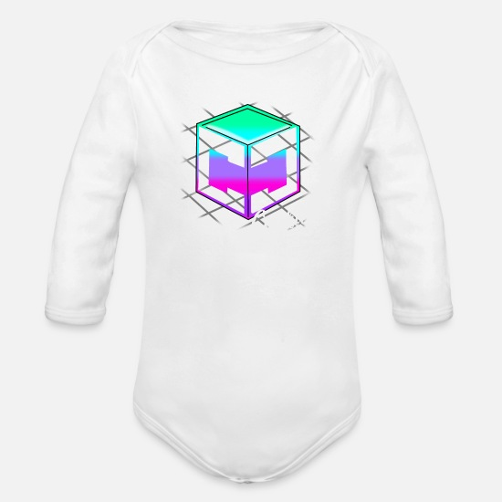 Youtube Baby Clothes - Cookie Cutter - Retro Logo - Organic Long-Sleeved Baby Bodysuit white