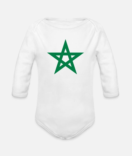Flag Baby Clothes - pentacle - Organic Long-Sleeved Baby Bodysuit white