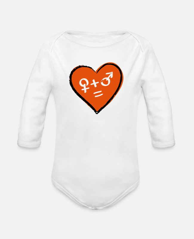 Heart Baby Bodysuits - Valentines day symbols woman man - Organic Long-Sleeved Baby Bodysuit white