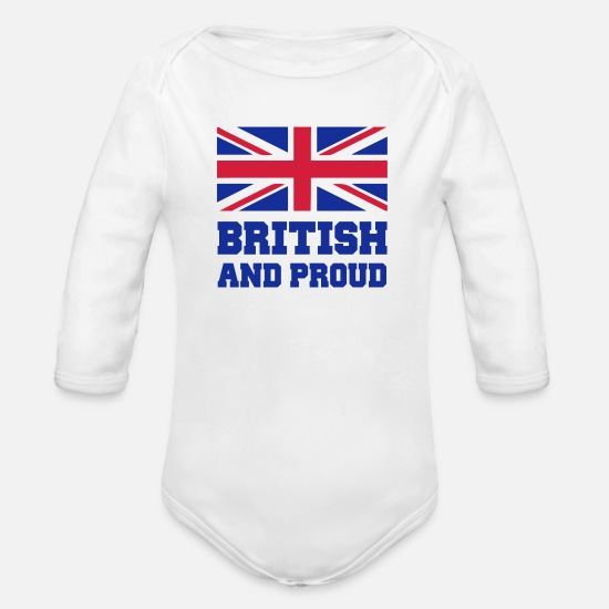 English Baby Clothes - British - Organic Long-Sleeved Baby Bodysuit white