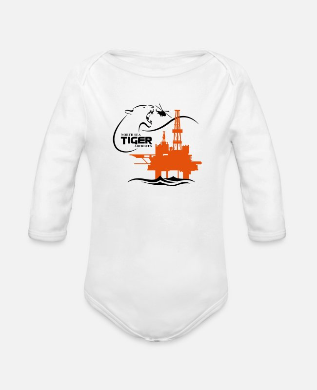 Trade Baby Bodysuits - Oil Rig Platform North Sea Aberdeen - Organic Long-Sleeved Baby Bodysuit white