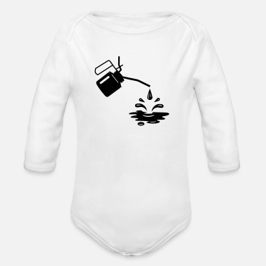 Oil An oil can and oil drops - Organic Long-Sleeved Baby Bodysuit