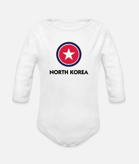 Country Baby Clothes - A star for North Korea - Organic Long-Sleeved Baby Bodysuit white