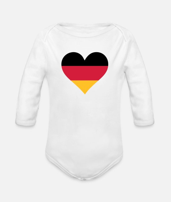 Heart Baby Clothes - A Heart for Germany - Organic Long-Sleeved Baby Bodysuit white