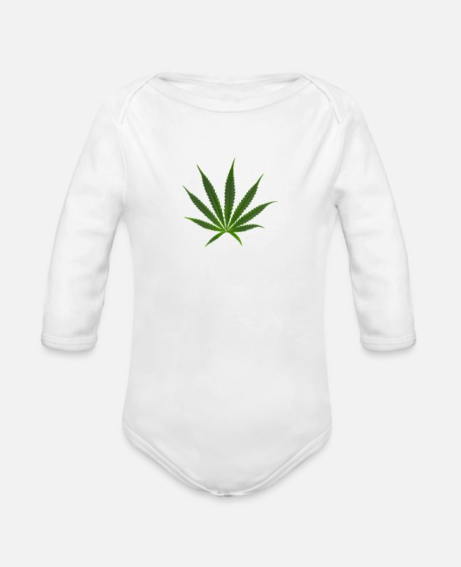 Reggae Music Baby Bodysuits - cannabis Sativa - Organic Long-Sleeved Baby Bodysuit white