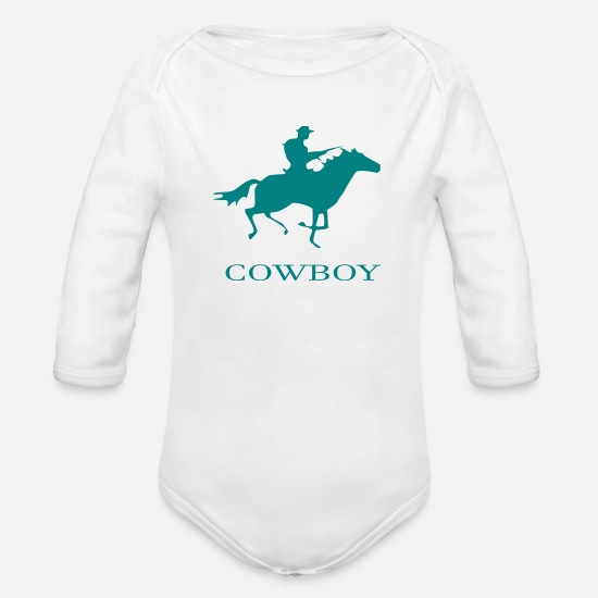 Hanover Baby Clothes - cowboy - Organic Long-Sleeved Baby Bodysuit white
