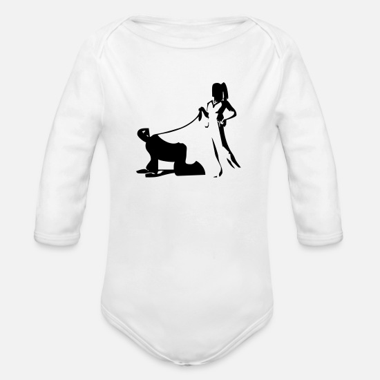 Slave Baby Clothes - serve, Mistress, Slave, BDSM - Organic Long-Sleeved Baby Bodysuit white