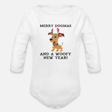 Woofy Merry Dogmas And A Woofy New Year Cute Dog Owner - Organic Long-Sleeved Baby Bodysuit