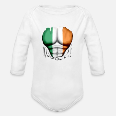 Stag Do Ireland Flag Ripped Muscles, six pack, chest - Organic Long-Sleeved Baby Bodysuit