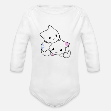 Cats And Dogs Collection cat, kitten, cute - Organic Long-Sleeved Baby Bodysuit