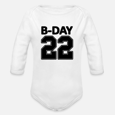 Number 22nd birthday bday 22 number numbers jersey number - Organic Long-Sleeved Baby Bodysuit