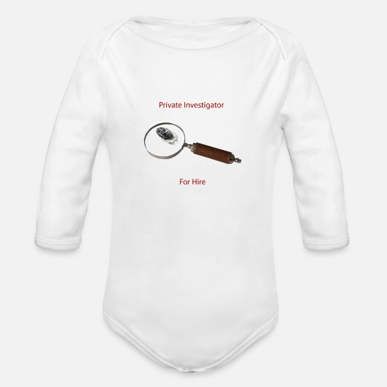 Sherlock Baby Clothes - Private Investigators For Hire - Organic Long-Sleeved Baby Bodysuit white