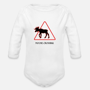 Elk on the road - Organic Long-Sleeved Baby Bodysuit