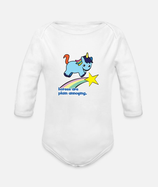 Witchcraft Baby Bodysuits - Unicorn: Unicorn Horses are plain annoying - Organic Long-Sleeved Baby Bodysuit white