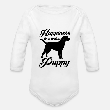Happy Puppy Happiness is a warm puppy - Organic Long-Sleeved Baby Bodysuit