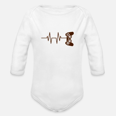 Crazy Zocken Gift Game Pulse - Organic Long-Sleeved Baby Bodysuit
