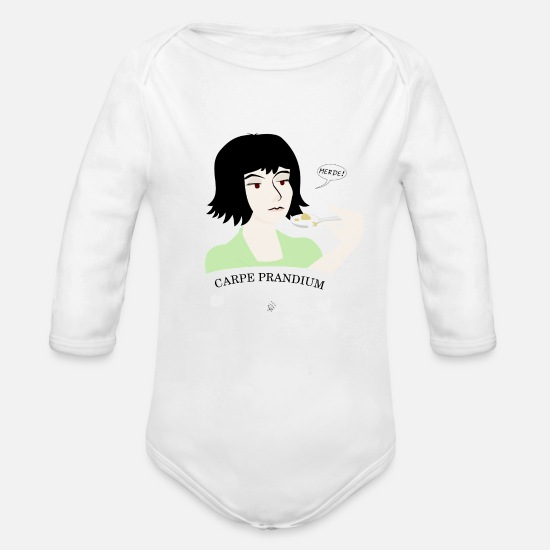 Carpe Diem Baby Clothes - Carpe Prandium - Organic Long-Sleeved Baby Bodysuit white