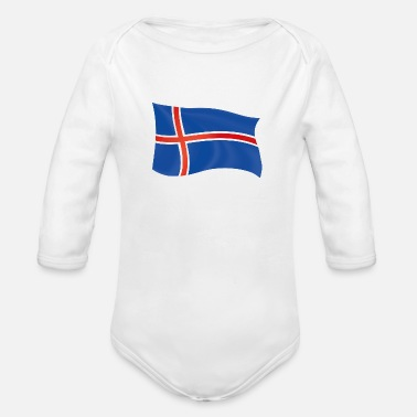 Token Iceland flag patriot gift home country state - Organic Long-Sleeved Baby Bodysuit