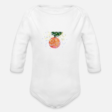Blizzard Christmas ornament in a snowy blizzard - Organic Long-Sleeved Baby Bodysuit