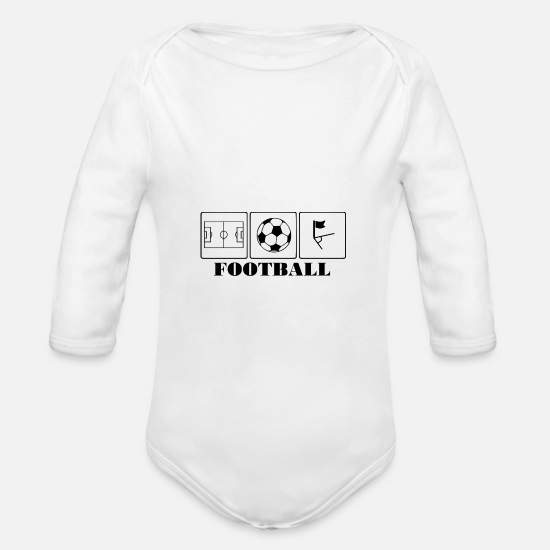 Football Baby Clothes - Football = football field soccer corner - Organic Long-Sleeved Baby Bodysuit white