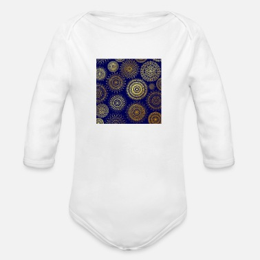 Christina Creation Mandalas blue gold - Organic Long-Sleeved Baby Bodysuit