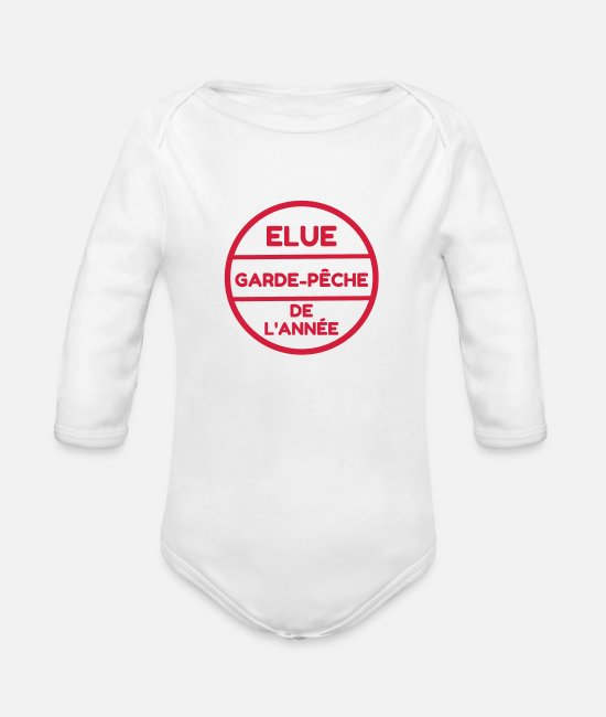 Gun Baby Clothes - Fishery Guardian Fishing Fischerei Pêche Fisch - Organic Long-Sleeved Baby Bodysuit white