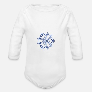 Snow snowflake pattern symmetry blue kringle - Organic Long-Sleeved Baby Bodysuit