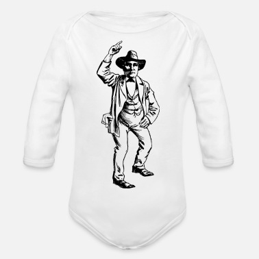 cowboy ranger rancher sheriff horsewester - Organic Long-Sleeved Baby Bodysuit
