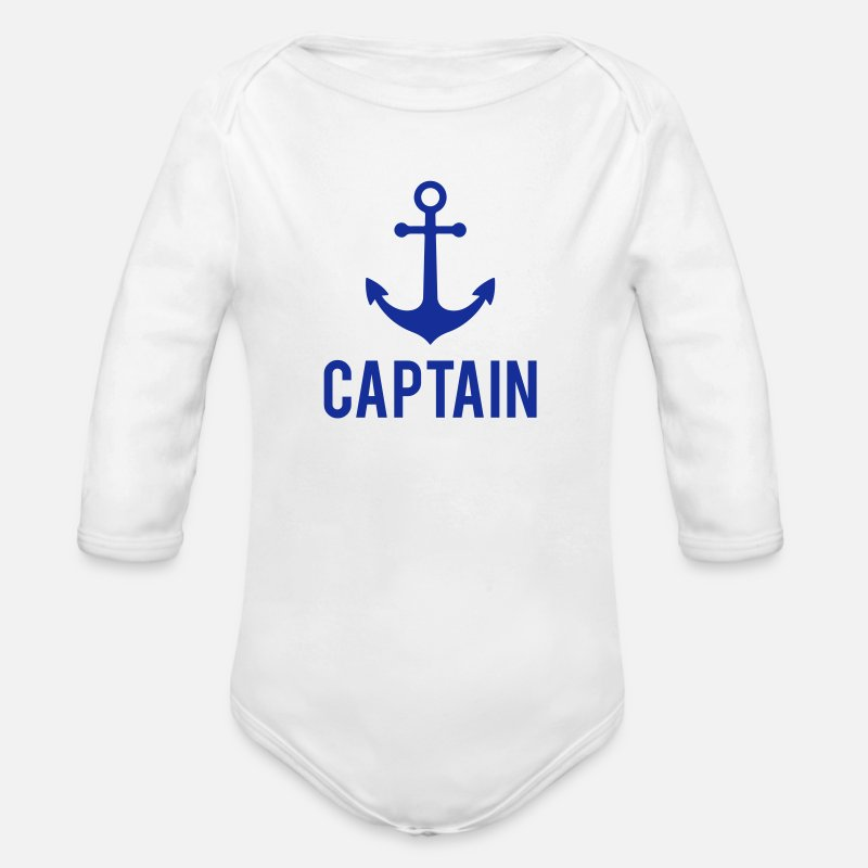 Anchor Baby Clothing - Captain Anchor - Longsleeved-Sleeved Baby Bodysuit white