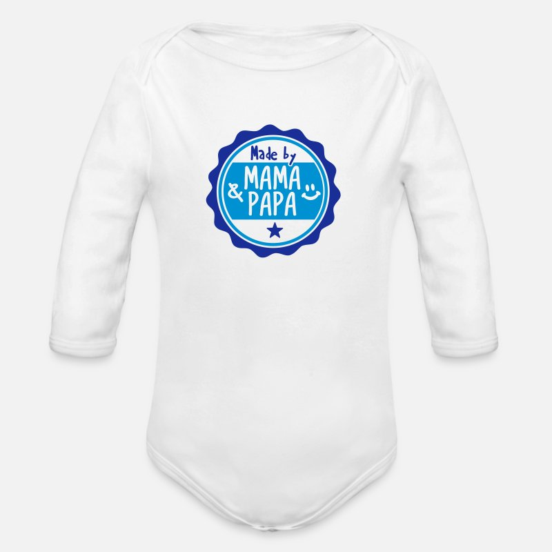 Baby Baby Clothing - Made by Mama und Papa - Longsleeved-Sleeved Baby Bodysuit white