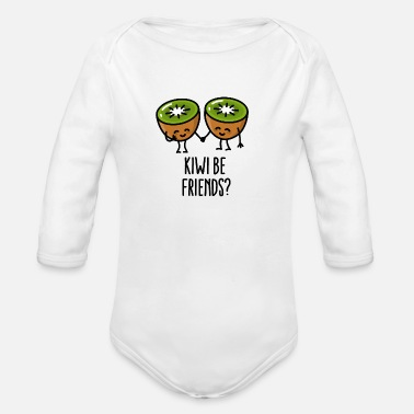 Kiwi be friends BFF Kawaii cute kiwi couple love - Baby bio-rompertje met lange mouwen
