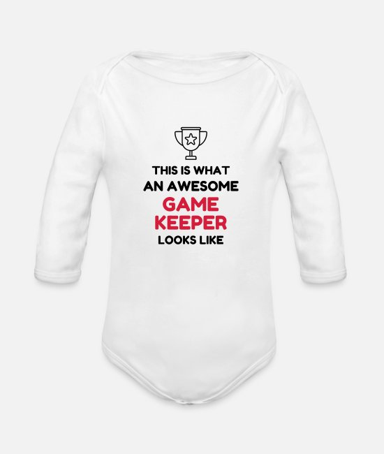 Nature Baby Bodysuits - Game Keeper Hunting Wildhüter Garde Chasse - Organic Long-Sleeved Baby Bodysuit white