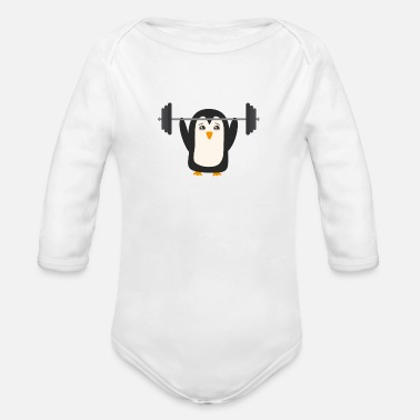 Lifting Penguin weight lifting - Organic Longsleeve Baby Bodysuit