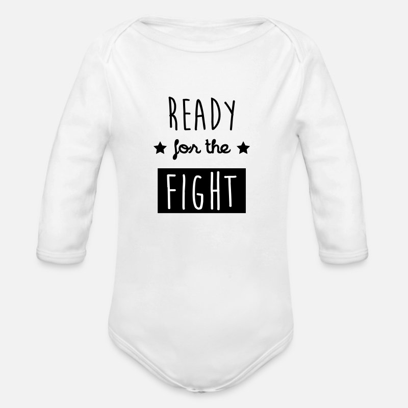 Ali Baby Clothing - Ready for the fight / Quote / Boxing / Sport / Fun - Longsleeved-Sleeved Baby Bodysuit white