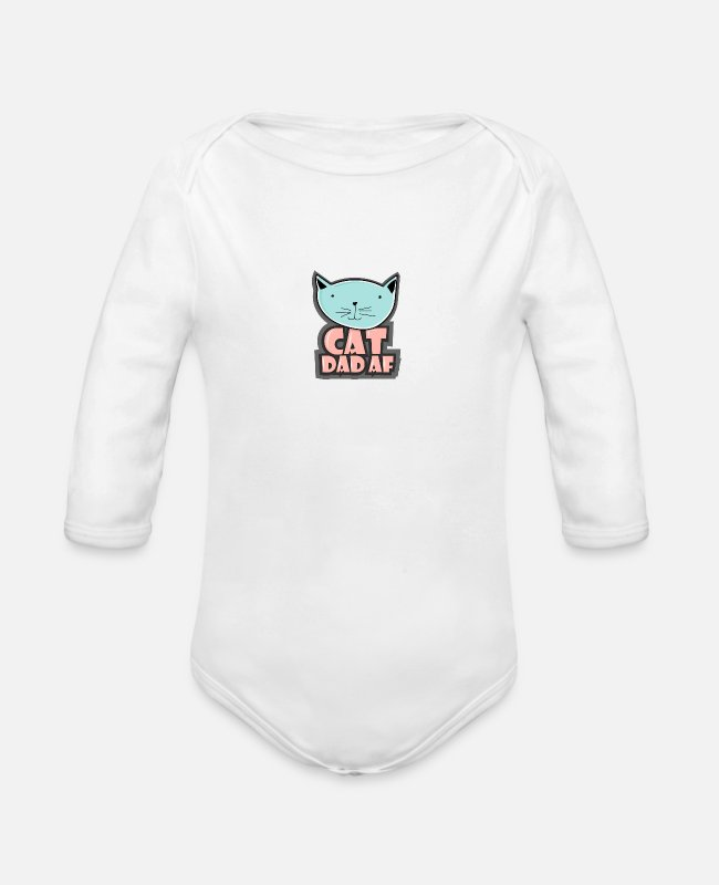 Father's Day Baby Bodysuits - Mens Cat Dad AF Cat Men and Cat Lovers print - Organic Long-Sleeved Baby Bodysuit white