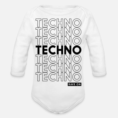 Techno TECHNO TECHNO TECHNO TECHNO - Body Bébé bio manches longues