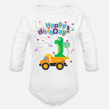 Happy Happy Birthday 1 boys - Organic Long-Sleeved Baby Bodysuit