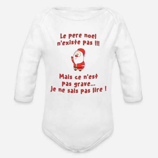 c0cf639196491 Noel Vêtements Bébé - Pere noel existe pas - Body Bébé bio manches longues  blanc