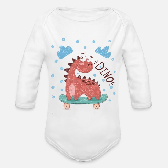 Skateboard Baby Clothes - Skater Dino Shirt for Boys - Organic Long-Sleeved Baby Bodysuit white