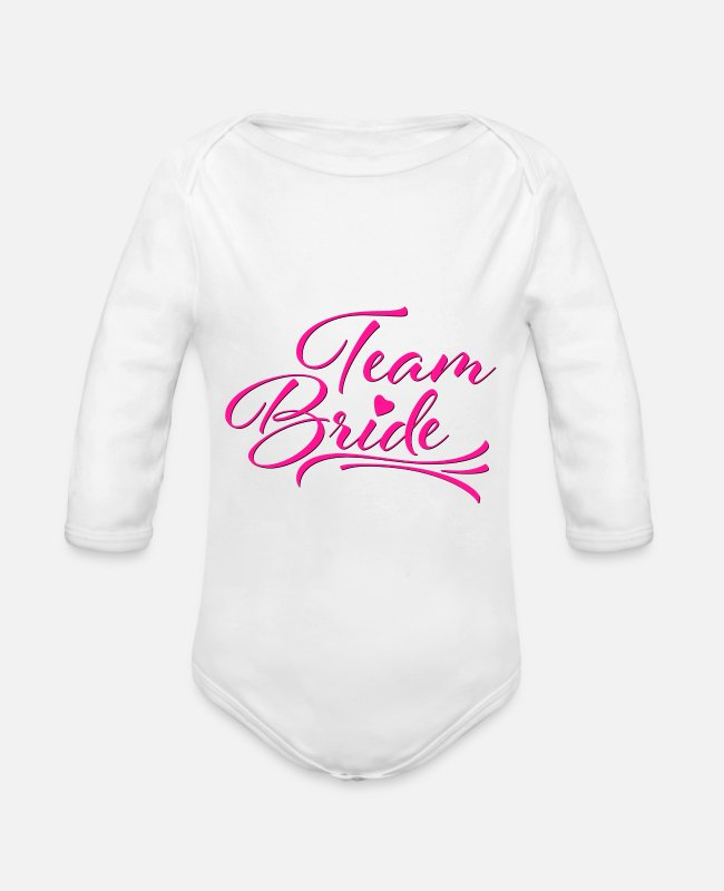 Maid Of Honor Baby Bodysuits - Gift | Team bride hen party - Organic Long-Sleeved Baby Bodysuit white