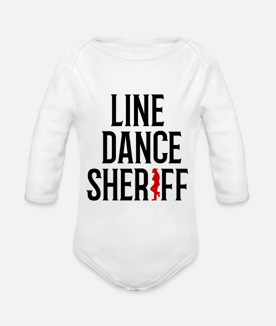 Western Baby Bodysuits - Linedancesheriff linedance sheriff western gift - Organic Long-Sleeved Baby Bodysuit white