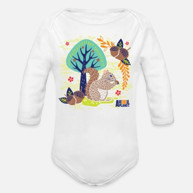 Officialbrands Animal Planet Too Cute Squirrel With Acorns - Organic Longsleeve Baby Bodysuit