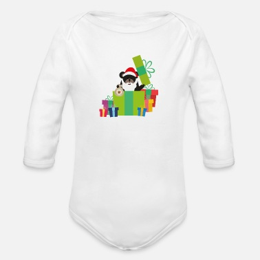 Surprise Grizzly Santa with Tree and Presents - Organic Long-Sleeved Baby Bodysuit