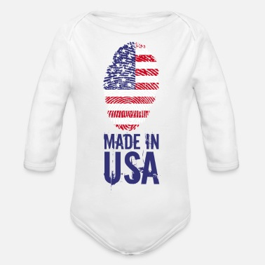 Usa Made in USA / Made in USA Amerika - Baby bio-rompertje met lange mouwen