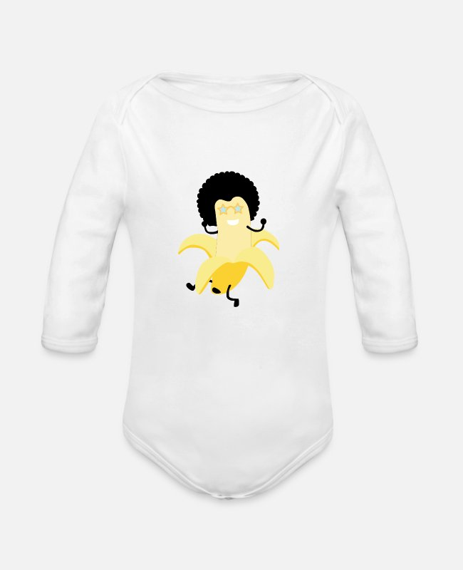 Bless You Baby Bodysuits - banana - Organic Long-Sleeved Baby Bodysuit white