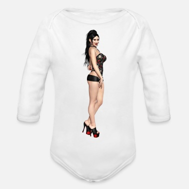 Naked Woman Vamp Sexy naked woman - Organic Long-Sleeved Baby Bodysuit