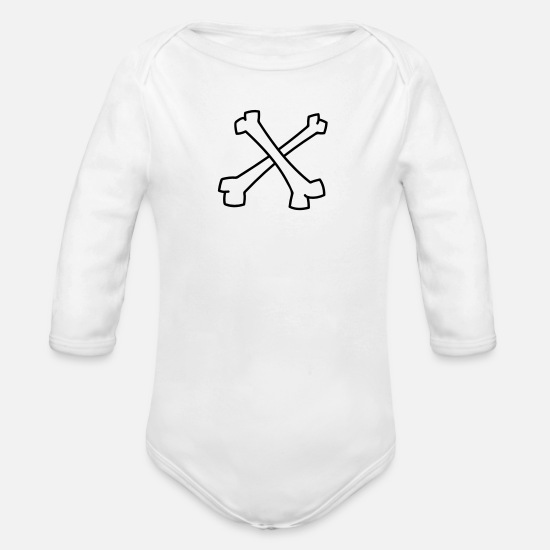 Black Baby Clothes - Crossed bones - pirate - Organic Long-Sleeved Baby Bodysuit white