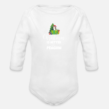 Penguin Christmas Penguin with Presents - Organic Longsleeve Baby Bodysuit